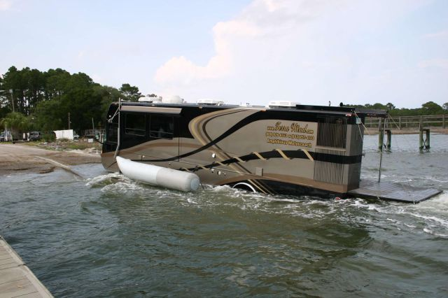 An Amazingly Luxurious Coach That Converts into a Yacht