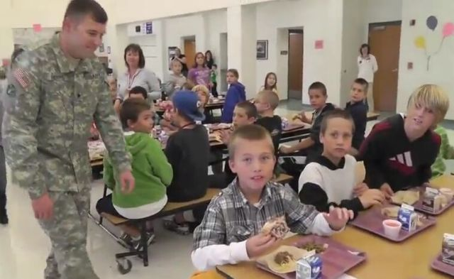 Soldier Surprises Son at School [VIDEO]