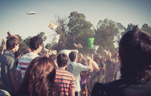 Pillow War in Buenos Aires.