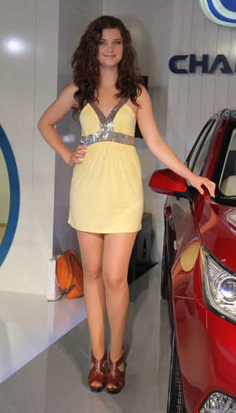 An Auto Show In Frankfort with Pretty Girls