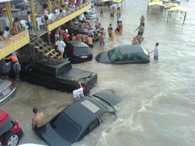 Cars Swept Into the Ocean