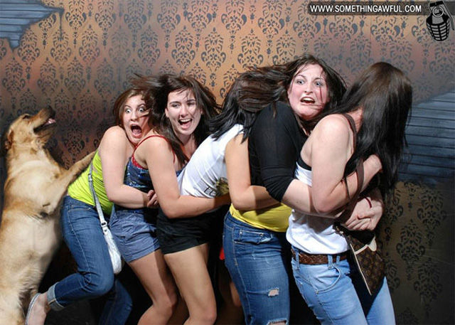 Photoshopped Haunted House Freak Out Reactions
