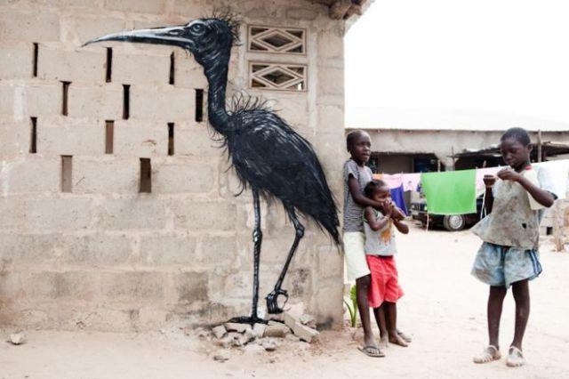 Animais Inspirado Africano Street Art