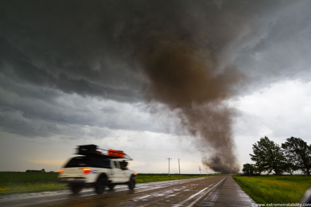 Storm Chaser Looks into the Eye of a Tornado
