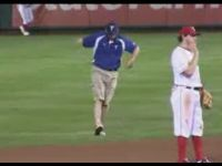 Groundsman Makes the Show at Baseball Game