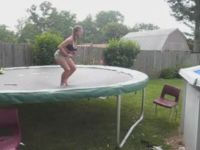 Trampoline-to-Pool Jump Fail