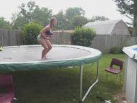 Trampoline-to-Pool Jump Fail