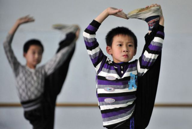 Intense Chinese Gymnastic School Training