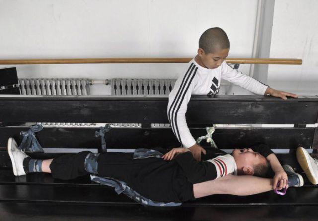 Intense Chinese Gymnastic School Training