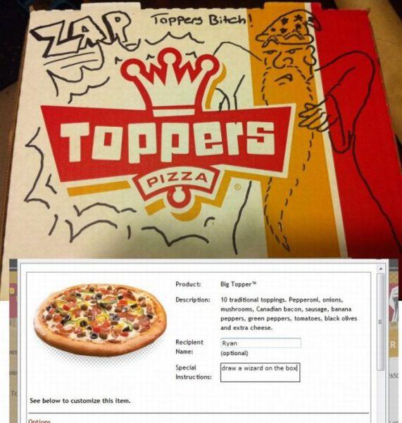 Creative Drawings Inside a Pizza Box