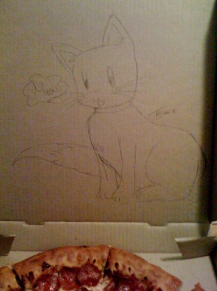 Creative Drawings Inside a Pizza Box