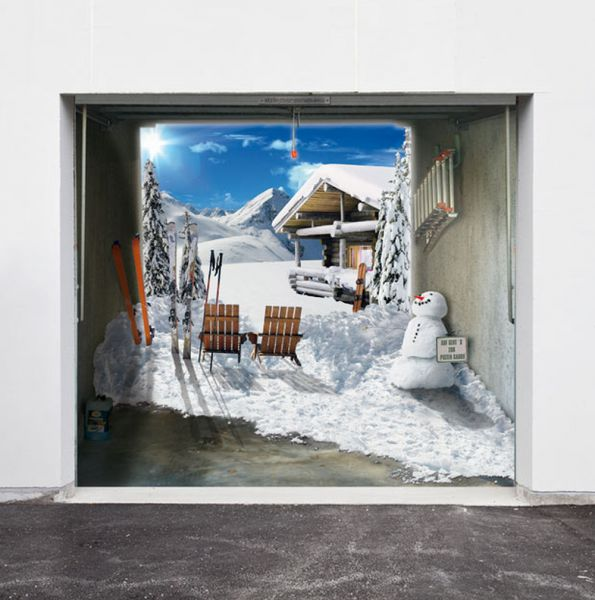 Style Your Garage Creative 3d Garage Doors Stickers: Garage Door 3D Designs For Christmas (10 Pics)