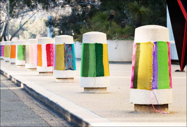 Urban Knitting Brings Soft Color to Hard Objects
