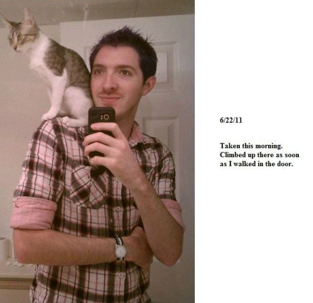 Cat Lover and His Shoulder Kitty