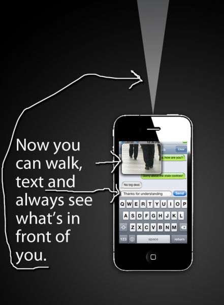 Walking While Texting Concept