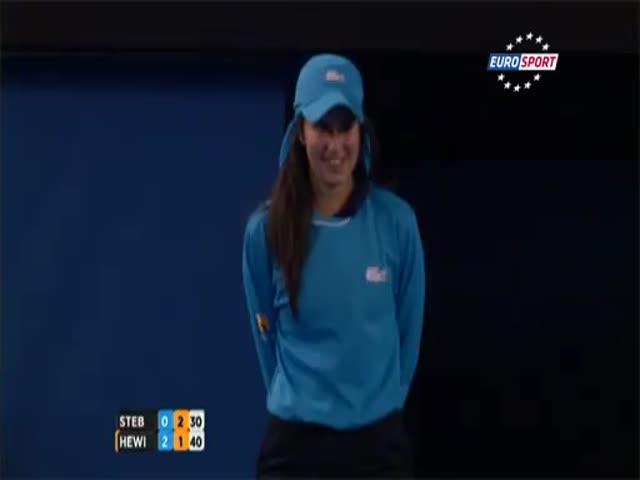 Cute Ball Girl Is Braver than Tennis Player