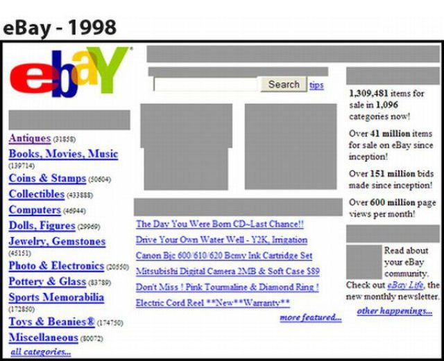 First Designs of Popular Sites