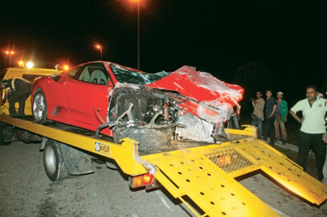 Ouch, Gorgeous Red Ferrari Totaled