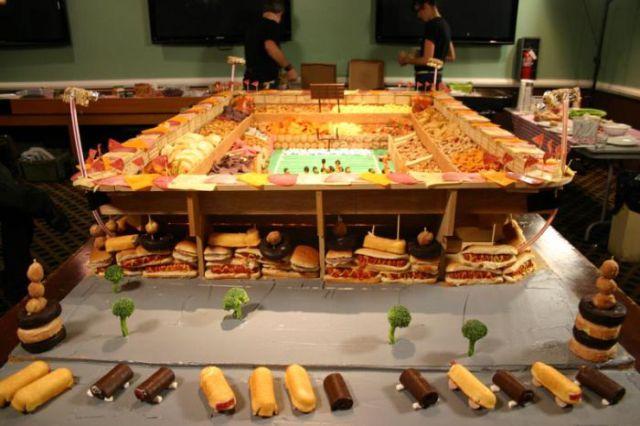 Super Bowl Stadiums Made of Snacks
