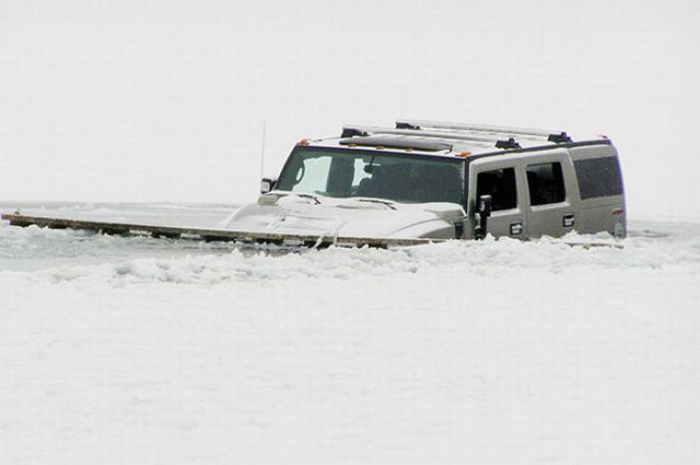 Hummers Fall through the Ice