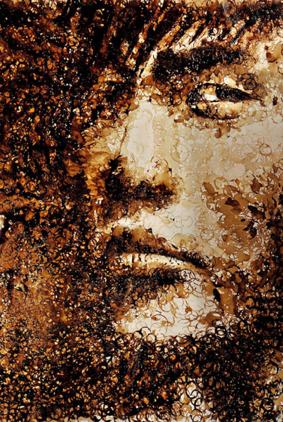 Portrait Drawn With Coffee Stains