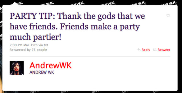 Andrew WK's Epic Party Tips