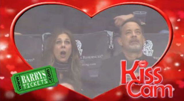 Kiss Cam Spots Tom Hanks and Rita Wilson