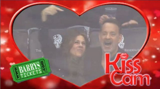 Kiss Cam Spots Tom Hanks and Rita Wilson