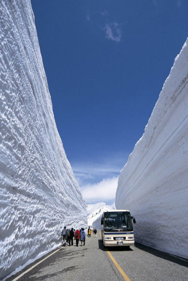 Japan's 65-Foot Towering Snow Walls