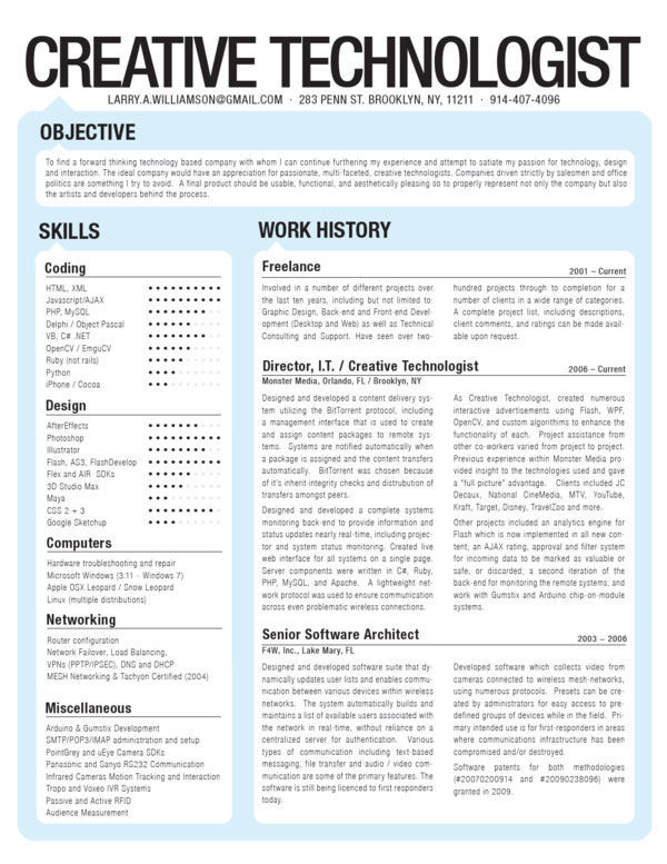 Imaginative CVs and Letters of Application