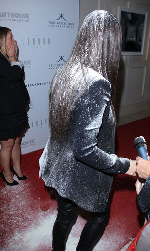 Kim Kardashian Hit with a Flour Bomb