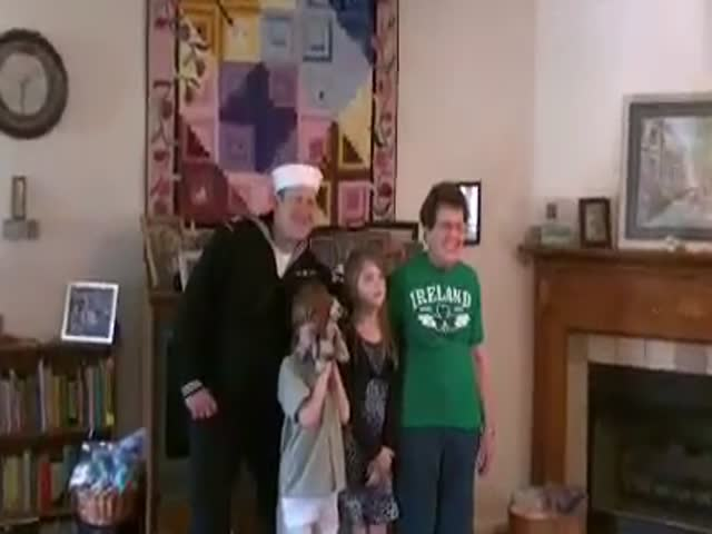 Awesome Grandma's Reaction to Returning Sailor Grandson