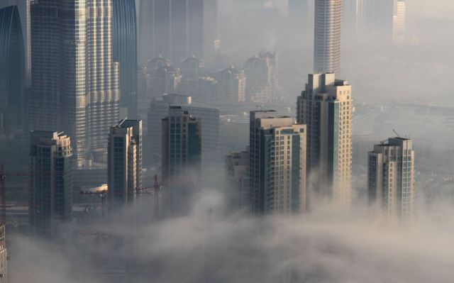 Dubai's Skyline Through the Blanket of Fog