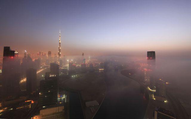 Dubai's Skyline Through the Blanket of Fog