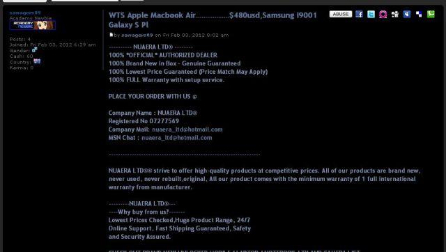 Apple Macbook Air………………$480usd