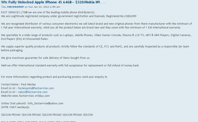 Fully Unlocked Apple iPhone 4S 64GB