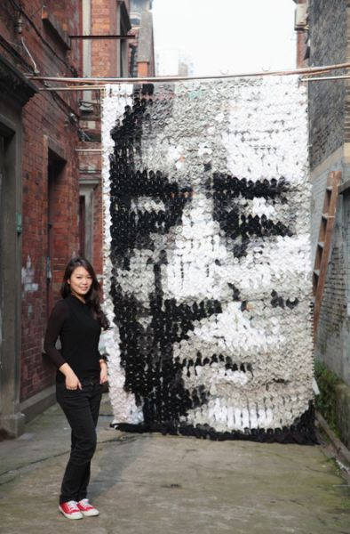 Huge Portrait Made of Socks