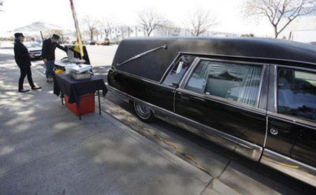 Ghoulish Hot Dogs from a Hearse Van