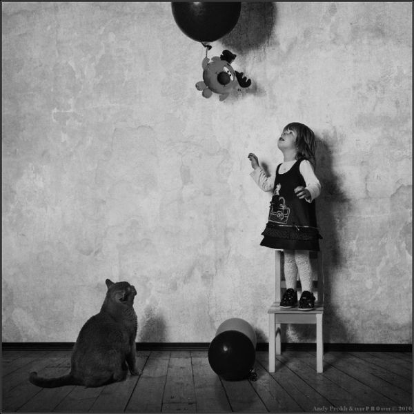 Artistic Little Girl and Cat Photos