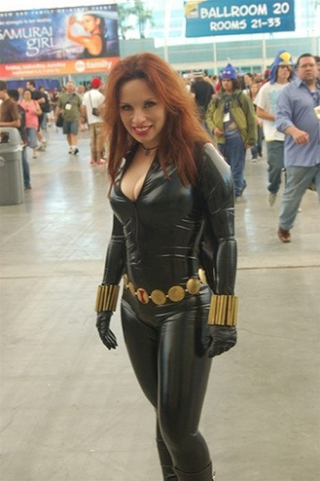 Busty Girls in the Black Widow Costumes