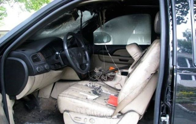Chevy Suburban Destroyed by a Spontaneous Combustion