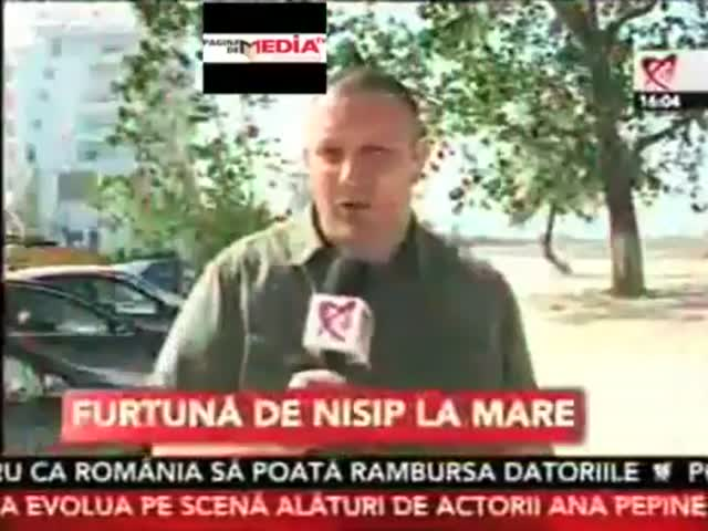 Epic News Fail - Romanian TV Reporter Caught Faking Sand Storm