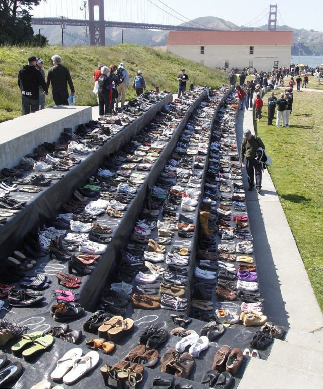Grim Shoe Display at the Golden Gate Bridge