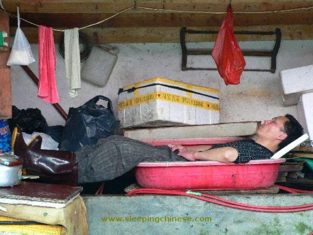 Chinese People Will Sleep Anywhere