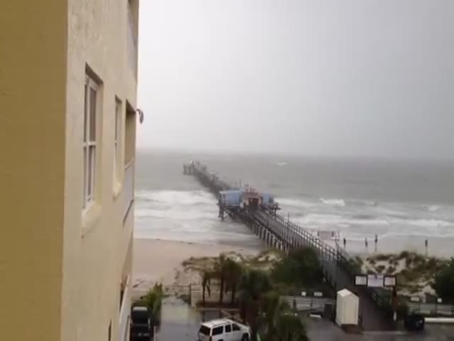 Crazy Kite Surfer during Tropical Storm