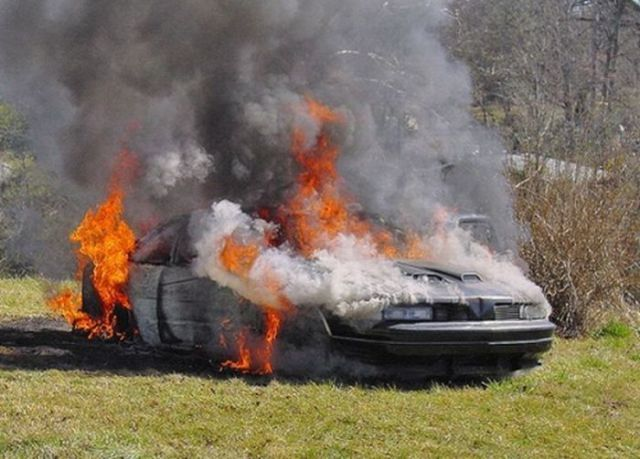 Motor Cars in Flames