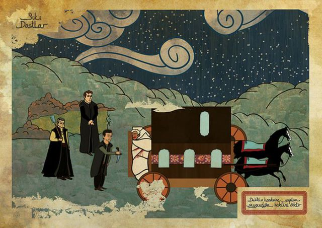 Hollywood Movies Illustrated in Oriental Style