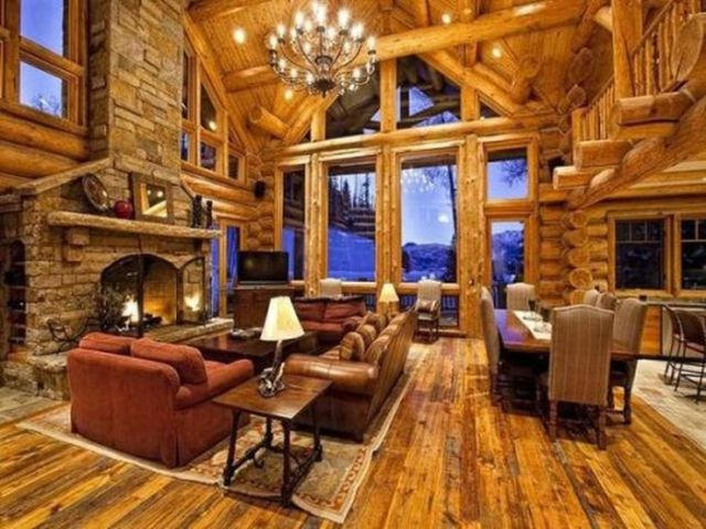 Magnificent log houses 36 pics for Log living room