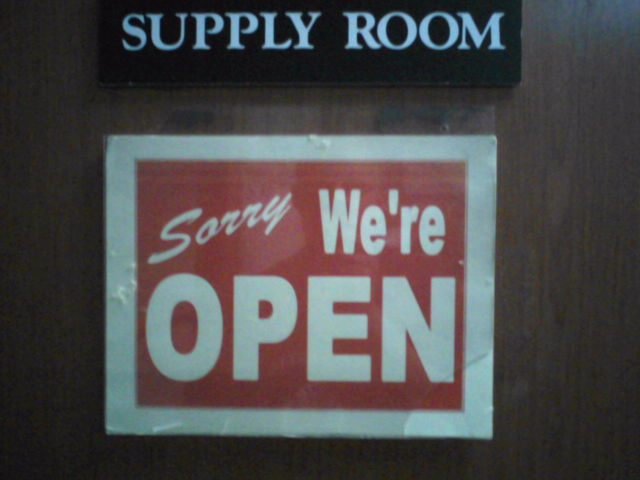 The open sign to my supply shop
