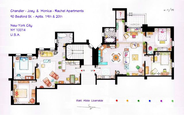 Artists Make Floor Plans of Popular TV and Movie Houses
